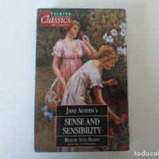Libros de segunda mano: 2 CASSETTES JANE AUSTEN SENSE AND SENSIBILITY READ BY ANNA MASSEY TALKING CLASSICS EN INGLÉS ORBIS. Lote 263144830