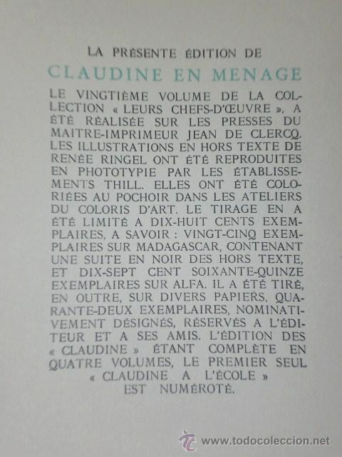 Libros de segunda mano: CLAUDINE EN MÉNAGE.(en francés) - Foto 8 - 26145249