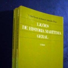 Libros de segunda mano: LIÇÕES DE HISTÓRIA MARÍTIMA GERAL, POR VICENTE M. ALMEIDA D'EÇA. 2 TOMOS. TEXTO EN PORTUGUÉS. Lote 29444458