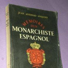 Libros de segunda mano: MÉMOIRES D´UN MONARCHISTE ESPAGNOL 1931- 1952.. Lote 32121073