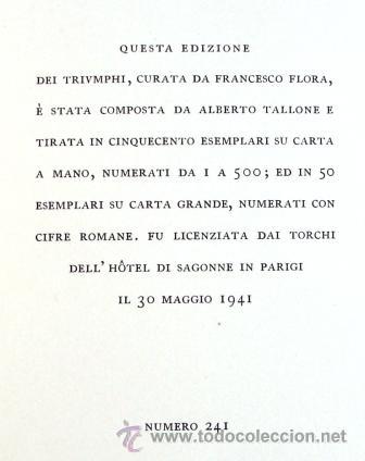 Libros de segunda mano: PETRARCA: TRIVMPHI - EDITORIAL TALLONE- TIRADA ESPECIAL DE 500 EJEMPLARES - Foto 2 - 32616386