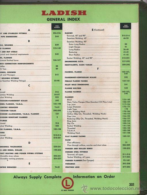 Libros de segunda mano: LIBRO CATALOGO BRIDAS ACERO FORJADO, GUARNICIONES, SOLDADURAS - LADISH CO. 1954 - 300 PAG INGLES - Foto 6 - 35887675