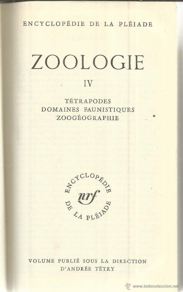 LIBRO EN FRANCÉS. ZOOLOGIE. VOLUME IV. D'ANDRÉE TÉTRY. DIJON. FRANCIA. 1974 (Libros de Segunda Mano - Otros Idiomas)