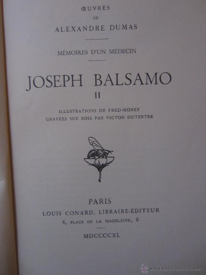 Libros de segunda mano: JOSEPH BALSAMO- MEMOIRES DÚN MEDECIN (TOMO II)-ALEXANDRE DUMAS-LOUIS CONARD -PARIS-1940 - Foto 5 - 42756132