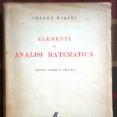 Libros de segunda mano: LIBRO ELEMENTI DI ANALISI MATEMATICA AÑO 1947. Lote 45329596