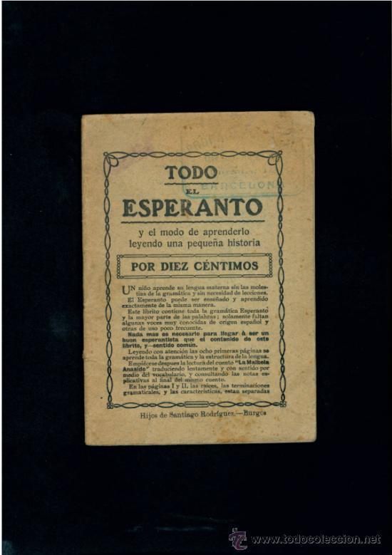 TODO EL ESPERANTO POR 10 CENTIMOS. HIJOS DE SANTIAGO RODRIGUEZ-BURGOS. (Libros de Segunda Mano - Otros Idiomas)
