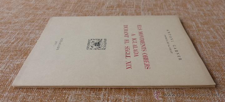 Libros de segunda mano: Els moviments obrers a Igualada durant el Segle XIX, Antoni Carner, Igualada, año 1971, En Catalán - Foto 2 - 46997332