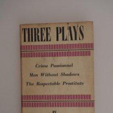 Libros de segunda mano: THREE PLAYS DE JEAN PAUL SARTRE (EDICION INGLESA 1954). Lote 57791955