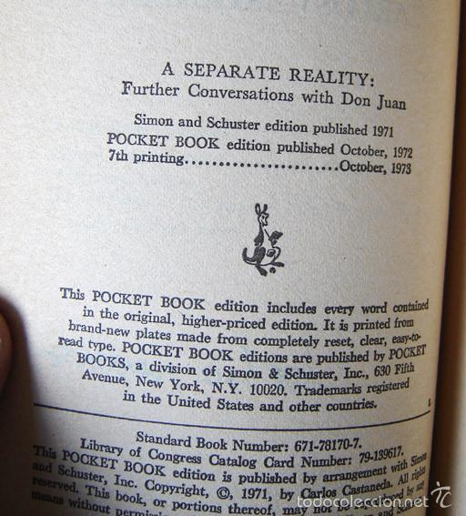 Libros de segunda mano: Carlos Castaneda · A Separate Reality: Further Conversations with Don Juan - Una realidad aparte – - Foto 2 - 60687003