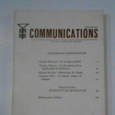 Libros de segunda mano: COMMUNICATIONS Nº 4. ECOLE DES HAUTES ETUDES EN SCIENCES SOCIALES. SEUIL. 1964. EN FRANCES. TDK346. Lote 121917483