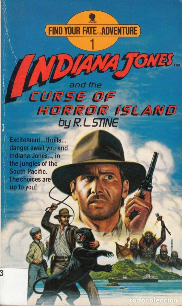 EN INGLÉS.R. L. STINE. INDIANA JONES AND THE CURSE OF HORROR ISLAND. SPHERE BOOK, LONDRES 1985. (Libros de Segunda Mano - Otros Idiomas)