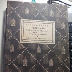 Libros de segunda mano: EDGAR ALLAN POE DER RABE. UND ANDERE GEDICHTE. BUCHEREI HAHN NR. 17. 1947. Lote 140184450