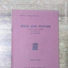 Libros de segunda mano: MFF.- RUGS AND PEWTER BY SAM BATE- H. F. W. DEANE & SONS LTD.- 1957.- 24 PAGINAS.-. Lote 147642074