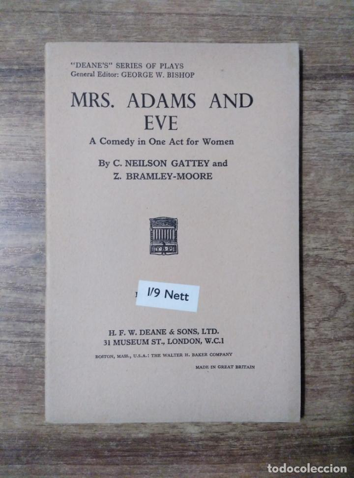 MFF.- MRS. ADAMS AND EVE BY NEILSON GATTEY AND BRAMLEY-MOORE.- H. F. W. DEANE & SONS LTD.- (Libros de Segunda Mano - Otros Idiomas)