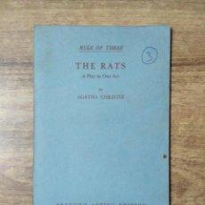 Libros de segunda mano: MFF.- THE RATS BY AGATHA CHRISTIE.- SAMUEL FRENCH LTD.- 1963.- 26 PAGINAS.- LAMINA Y DIBUJO.-. Lote 147762966