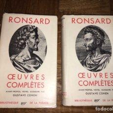 Libros de segunda mano: RONSARD OEUVRES COMPLÈTES 2 VOL ED PLÉIADE. Lote 149308273