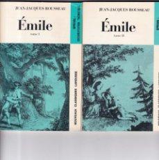 Libros de segunda mano: JEAN-JACQUES ROUSSEAU - ÉMILE - TOME I / TOME II - LAROUSSE LIBRAIRIE 1972. Lote 160175554