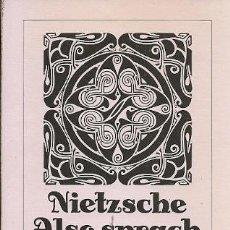 Libros de segunda mano: NIETZSCHE ALSO SPRACH ZARATHUSTRA. Lote 162416706