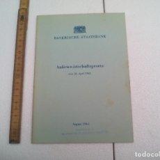 Libros de segunda mano: BAYERISCHE STAATSBANK. AUSSENWIRTSCHAFTSGESETZ APRIL 1961 LEY COMERCIO EXTERIOR, BANCO ESTATAL BAVARO. Lote 172585289