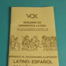 Libros de segunda mano: RESUMEN GRAMÁTICA LATINA. APÉNDICE AL DICCIONARIO . Lote 179852096