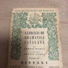 Libros de segunda mano: EXERCICIS DE GRAMÁTICA CATALANA. Lote 180463152
