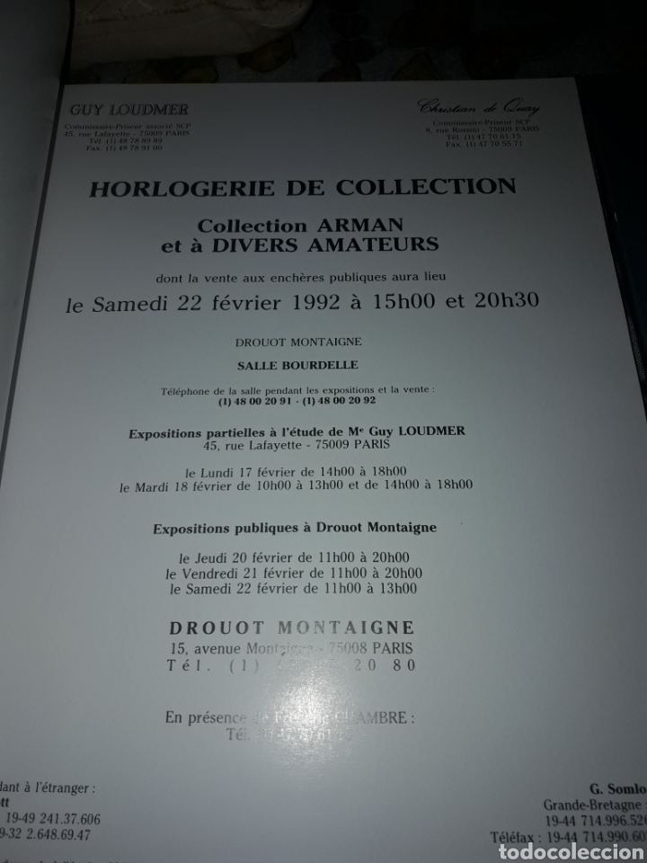 Libros de segunda mano: Cofre de 2 catálogos relojes. Guy Loudmer/Christian de Quay. Raro. Ver detalles - Foto 3 - 181506700