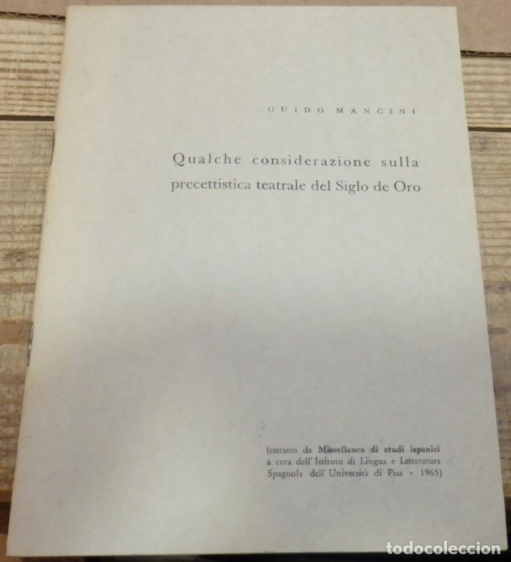 QUALCHE CONSIDERAZIONE SULLA PRECETTISTICA TEATRALE DEL SIGLO DE ORO, 1965 (Libros de Segunda Mano - Otros Idiomas)