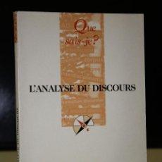 Libros de segunda mano: L'ANALYSE DU DISCOURS. HISTOIRE ET PRATIQUES.. Lote 195174083