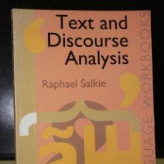 Libros de segunda mano: TEXT & DISCOURSE ANALYSIS. ''LANGUAGE WORKBOOKS''.. Lote 195226173