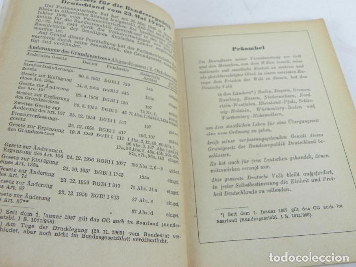 Libros de segunda mano: GRUNDGESETZ FÜR BUNDESREPUBLIK DEUTSCHLAND (CONSTITUCION PARA LA REP. FED. ALEMANA) - Foto 4 - 195365803