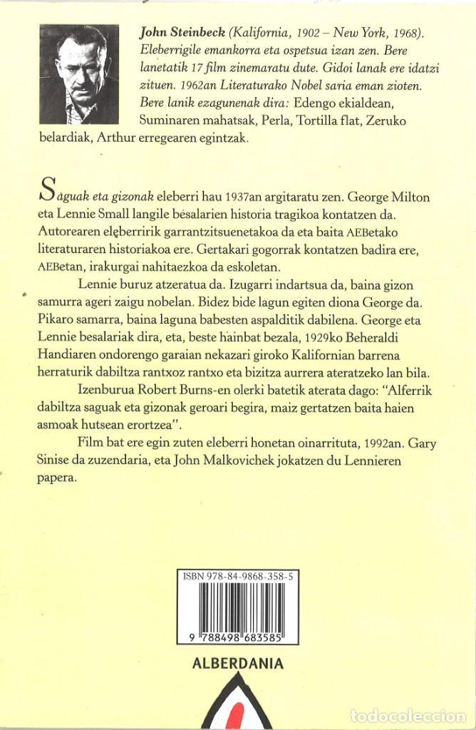 Libros de segunda mano: John Steinbeck. Saguak eta gizonak. 2012. En euskera - Foto 2 - 195389696
