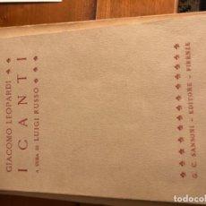 Libros de segunda mano: LEOPARDI. I CANTI. SANSONI EDITORE.1962. Lote 195415931