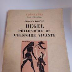 Livros em segunda mão: HEGEL PHILOSOPHIE DE L'HISTOIRE VIVANTE. Lote 201532335