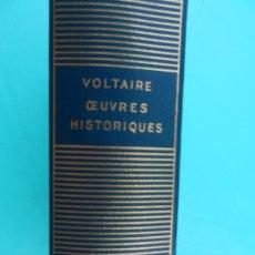 Libros de segunda mano: VOLTAIRE - CEUVRES HISTORIQUES - BIBLIOTHÈQUE DE LA PLÉIADE - GALLIMARD 1957.. Lote 221248451