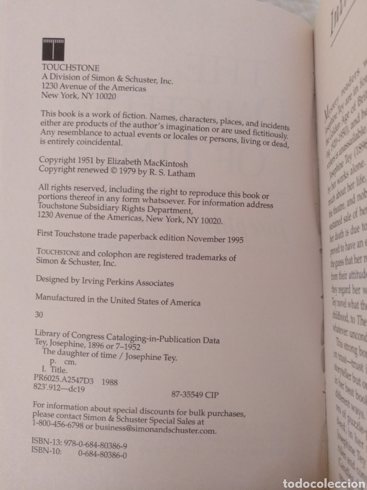 Libros de segunda mano: The daughter of time. Josephine Tey. Introduction by Robert Barnard. A touchstone book. Libro - Foto 3 - 225157300