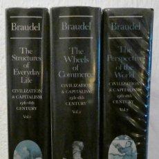 Libros de segunda mano: LOTE 3 LIBROS.COLECCIÓN COMPLETA.HISTORY.FERNAND BRAUDEL.CIVILIZATION & CAPITALISM 15TH-18TH CENTURY. Lote 227775495