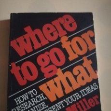 Libros de segunda mano: WHERE TO GO FRO WHAT. MARA MILLER. 1971.. Lote 234025775