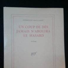 Libros de segunda mano: 2000 - MALARMÉ - UN COUP DE DÉS JAMAIS N'ABOLIRA LE HASARD. Lote 235942245