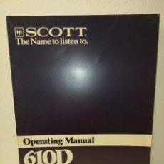 Libros de segunda mano: MANUAL DE USO 610 D SCOTT /89/. Lote 243825555
