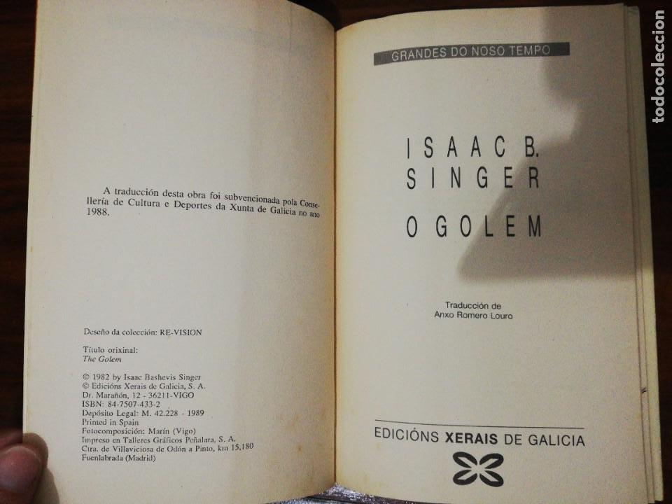Libros de segunda mano: O GOLEM. ISAAC B. SINGER (EN GALLEGO). XERAIS. 1989 - Foto 3 - 255012085