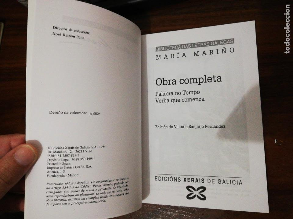 Libros de segunda mano: OBRA COMPLETA. MARÍA MARIÑO. BIBLIOTECA DAS LETRAS GALEGAS. XERAIS. 1994 - Foto 3 - 255014690