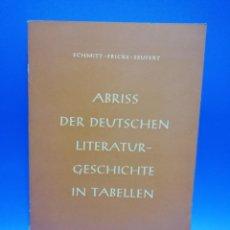Libros de segunda mano: ABRISS DER DEUTSCHEN LITERATUR- GESCHICHTE IN TABELLEN. SCHMITT-FRICKE-SEUFERT. 1955. PAGS. 196.. Lote 258864975