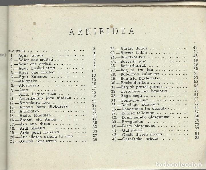 Libros de segunda mano: Boga boga. Erri Abesti Xorta. Donostiko apaizgaitegia 1959, ver nota - Foto 5 - 269457383