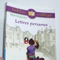 Libros de segunda mano: LETTRES PERSANES - MONTESQUIEU (BIBLIO COLLÈGE, HACHETTE LIVRE, 2003) LIBRO EN FRANCÉS. Lote 279373488
