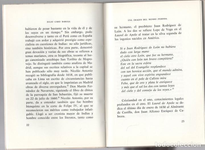 Libros de segunda mano: UNA IMAGEN DEL MUNDO PERDIDA. JULIO CARO BAROJA. UNIVERSIDAD MENENDEZ PELAYO, 1979 - Foto 2 - 279385743