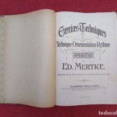 Libros de segunda mano: EXERCICES TECHNIQUES POUR PIANO - ED.MERTKE - 1907 - EN FRANCES. Lote 279486828