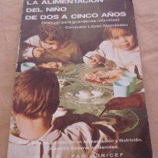 Libros de segunda mano: LA ALIMENTACION DEL NIÑO DE DOS A CINCO AÑOS - CONSUELO LOPEZ NOMDEDEU - UNICEF.. Lote 19646721