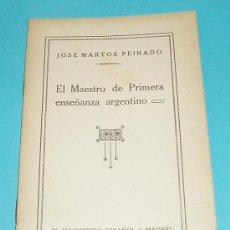 Libros de segunda mano: EL MAESTRO DE PRIMERA ENSEÑANZA ARGENTINO. JOSE MARTOS PEINADO. CARTILLAS PEDOGÓGICAS. Lote 25780850