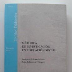 Libros de segunda mano: METODOS DE INVESTIGACION EN EDUCACION SOCIAL - UNIVERSIDAD NACIONAL DE EDUCACION A DISTANCIA. Lote 31732577