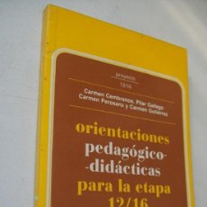 Libros de segunda mano: ORIENTACIONES PEDAGÓGICO -DIDÁCTICAS PARA LA ETAPA 12 /16- PROYECTO 12/16-NARCEA1987. Lote 36402221